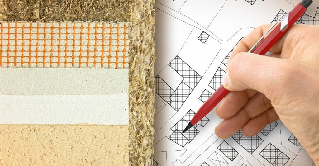 Hemp building materials samples and building plans