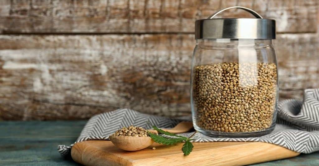 Hemp in a jar for hemp seed recipes