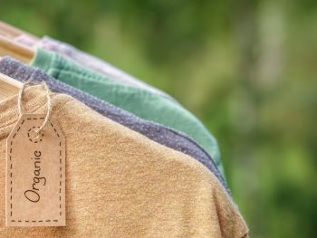 Organic hemp shirts on hangers