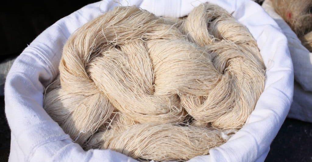 Hemp wool in a cloth bag