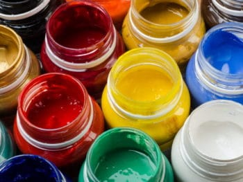 Colourful pots of hemp paint